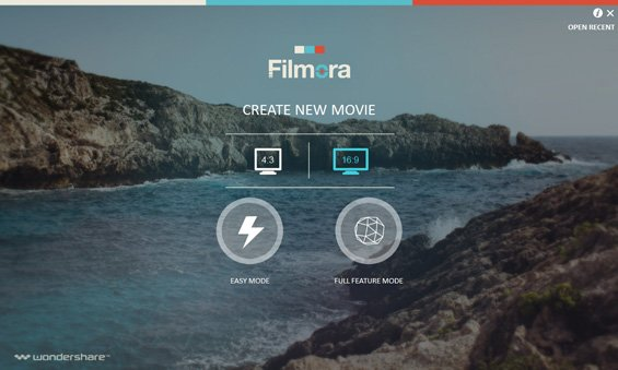 Filmora Startup - choose video dimension and software mode