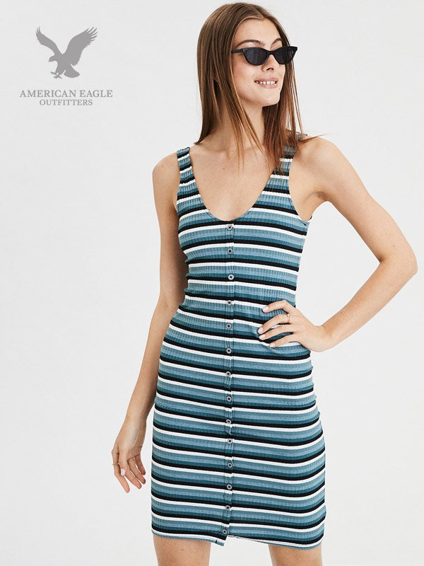 American Eagle Knit Button Front Dress