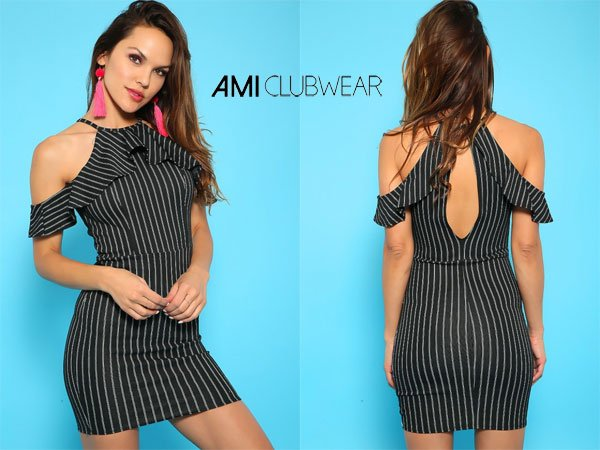 Amiclubwear Sexy Black & White Stripe Short Sleeve Bodycon Party Dress