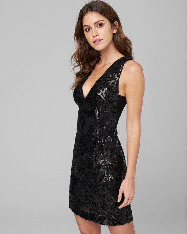 Bebe Deep V, Embellished, Jet-Black Mini Dress