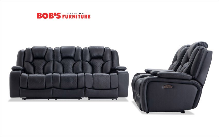 Bob's Furniture Dual Power Reclining Sofa and Console Loveseats