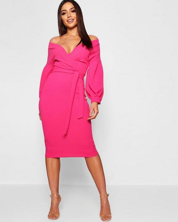 Boohoo Off-the-Shoulder Wrap Midi Dresses in Hot Pink Color