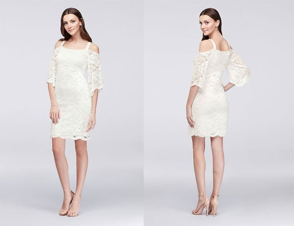 David's Bridal Cold-Shoulder Lace Sheath Dress