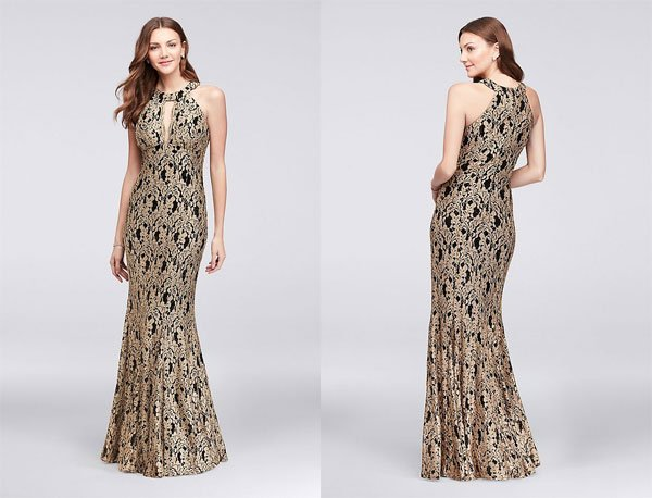 David's Bridal Gold Lace High-Neck Halter Mermaid Gown