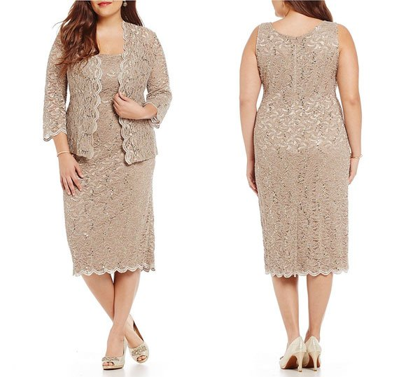 Dillard's Plus Sequined Lace Tea-Length Jacket Dress