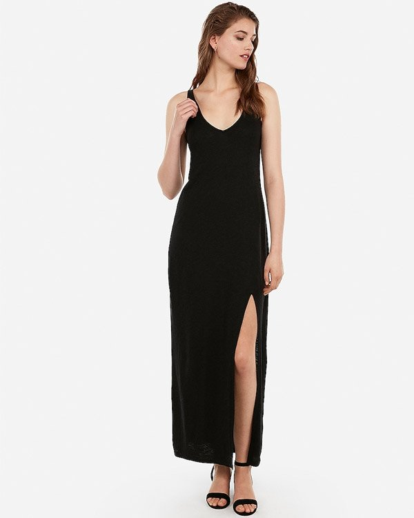 Express Black, V-Neck, Sleeveless Maxi Dress