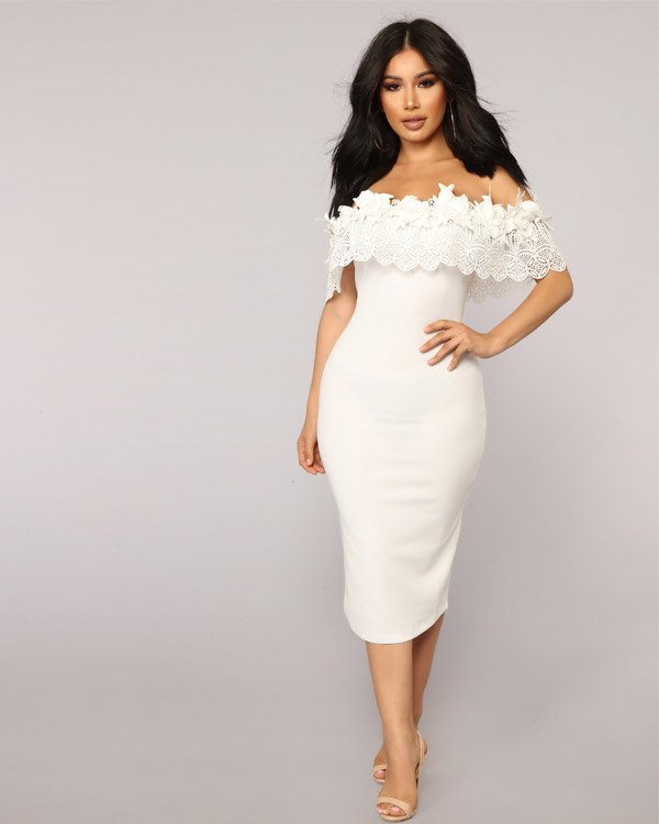 Fashion Nova Off-the-Shoulder, White Midi Dress