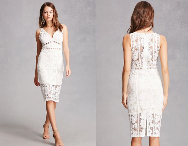 Lace Overly, Midi White Dresses At Forever 21