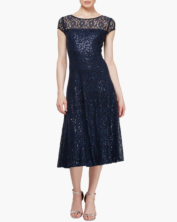 Last Call Bateau Neck Cap Sleeve Embellished Cocktail Dress
