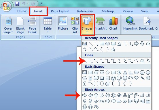 Line Arrows and Block Arrows in Up, Down, Right and Left Directions in Microsoft Word