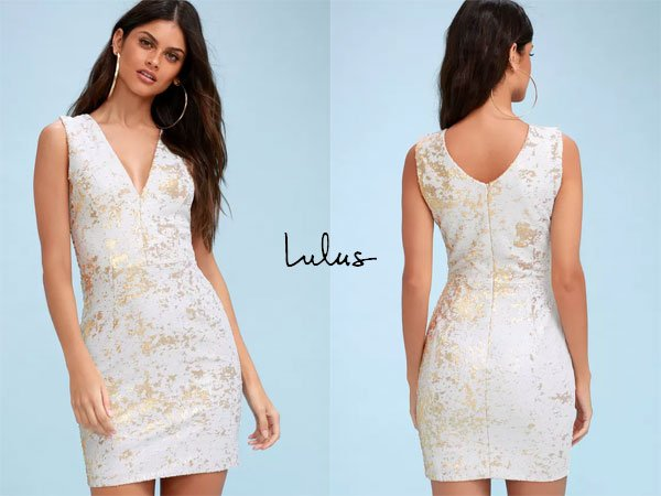 Lulus Cody Gold And White Sequin Bodycon Dress