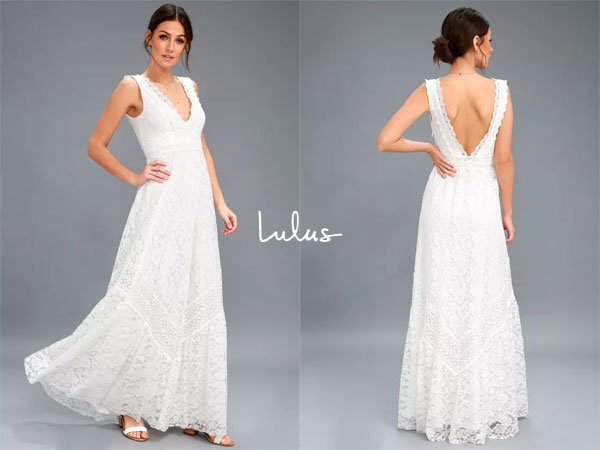 Lulus Melia White Lace Maxi Dress