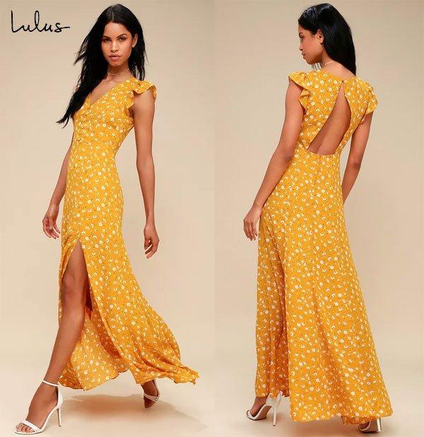 Lulus Mustard Yellow Floral Print Backless Maxi Dress