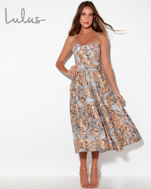 Lulus Rose Gold Floral Midi Dress