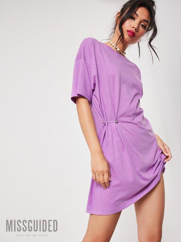 Missguided Lilac Metal Bar T-Shirt Dress Purple