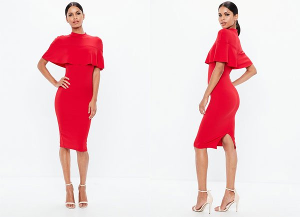 Missguided Red Frill Overlay Shoulder Midi Dress
