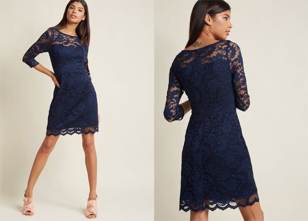 ModCloth Lace Sheath Dress with Illusion Neckline in Navy