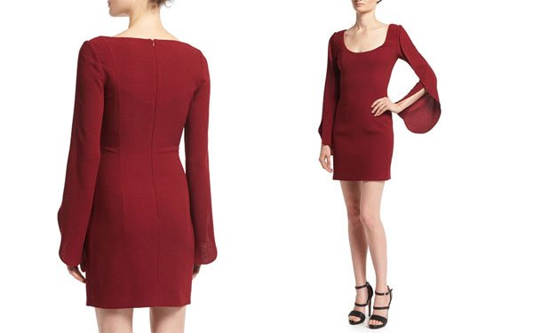 Neiman Marcus Scoop-Neck Long-Sleeve Cocktail Dress