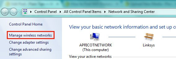 Network and Sharing Center In Microsoft Windows 7 and Windows 8
