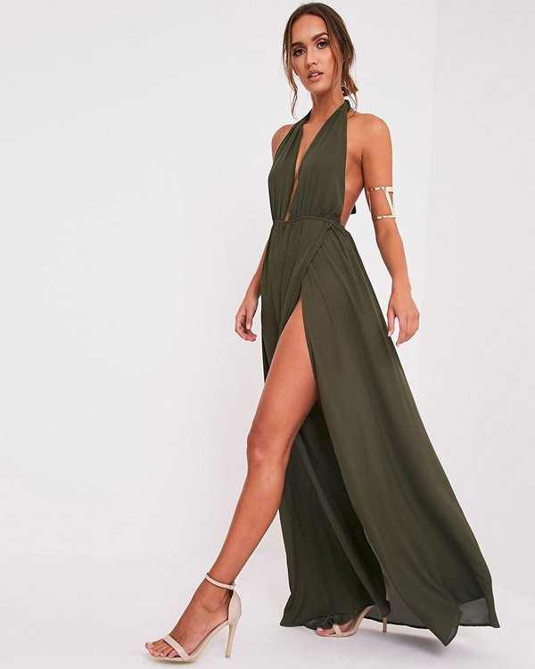 Pretty Little Thing Plunge Maxi Dress