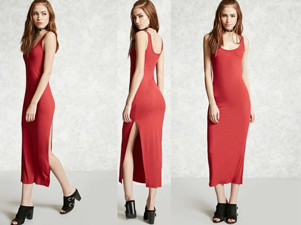 Ribbed Side Slit : Affordable Red Prom Dresses At Forever 21