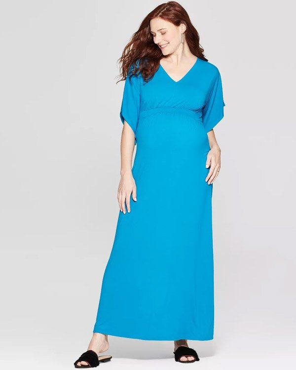 Target Maternity Maxi Dress in Blue Color