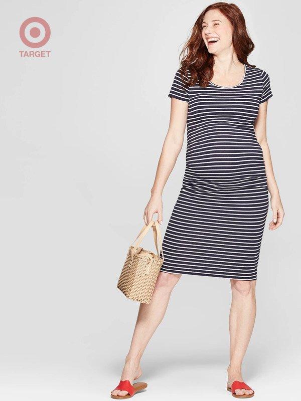 Target Maternity Striped Shirred T-Shirt Dresses