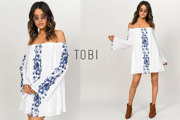 Tobi Boho Babe White and Navy Embroidery Shift Dress