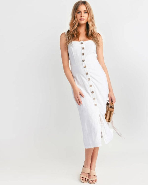 Tobi Button Up White Midi Dress for Graduation Party