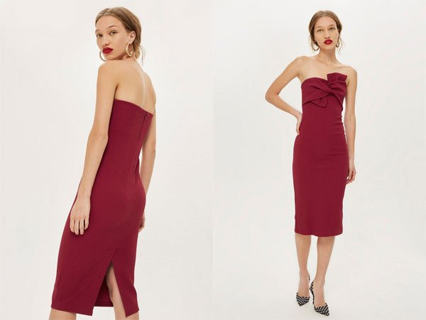 Topshop Bow Twist Textured Midi Bodycon Dress