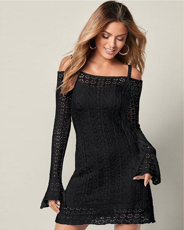 Venus Timeless Crochet Mini Dress in Black Color