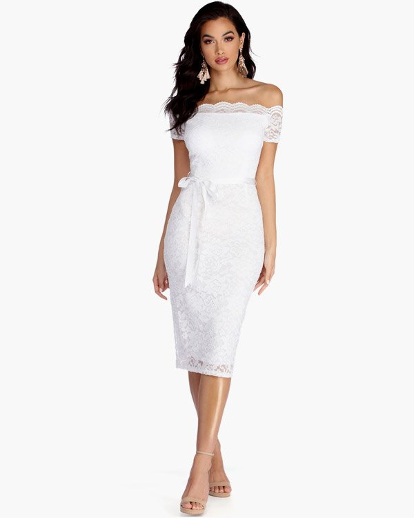 Windsor White Formal Midi Lace Dress
